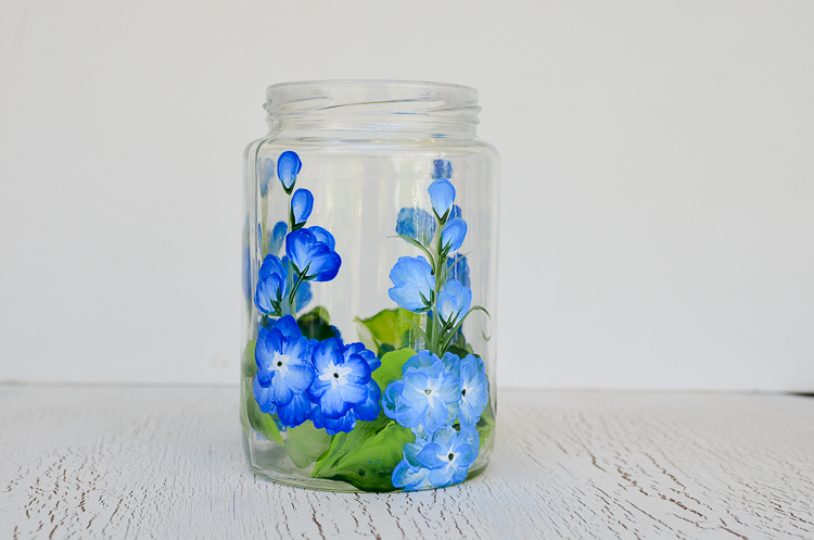 Paint Delphiniums on Glass