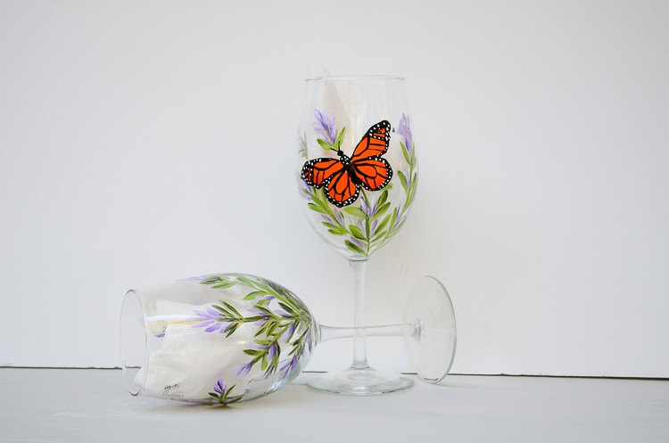 Paint Lavender and Monarch Butterflies on Glass