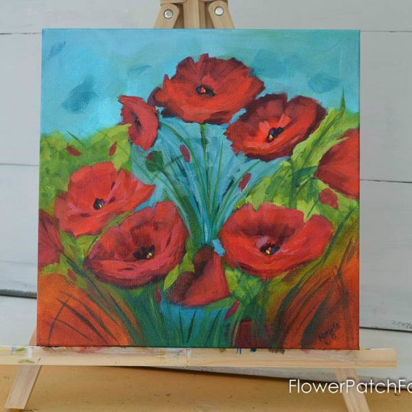 Red Poppy Impressionistic Painting