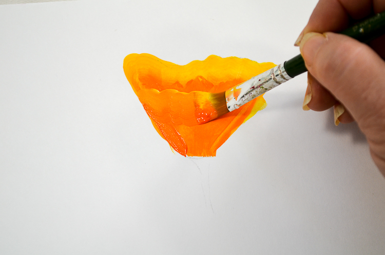 How to Paint California Poppies one stroke at a time