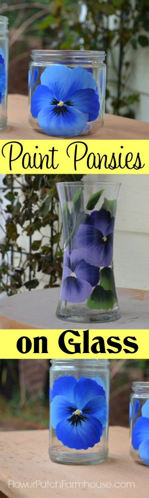 How to Paint Pansies on Glass, glass painted with different colors of Pansy