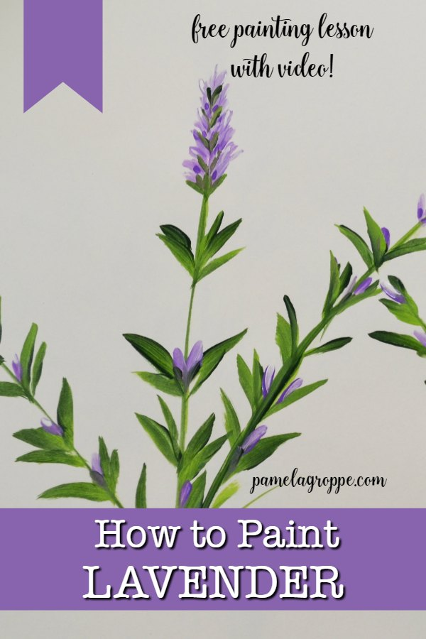 How to paint Lavender one stroke at a time in acrylics, easy and fun. #painting #acrylics #art #crafts