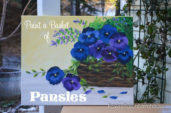 Basket of Pansies acrylic painting with text overlay Paint a Basket of Pansies.
