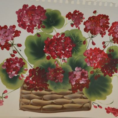 How to Paint a Basket of Red Geraniums