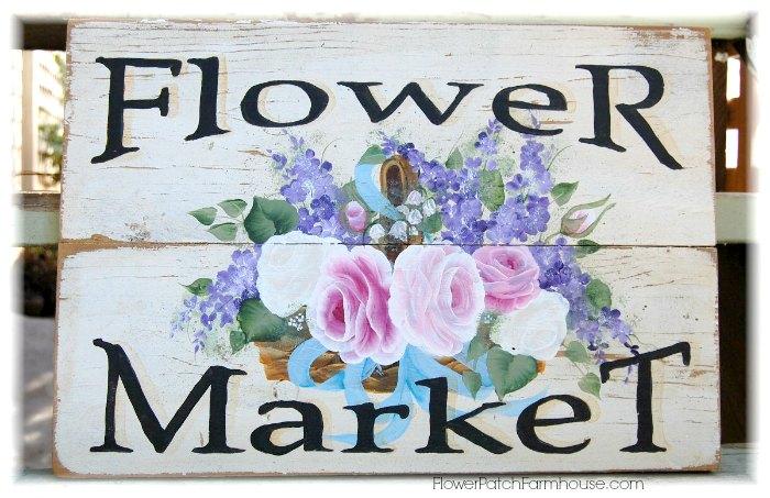 Flower Market sign pattern e-book with step by step instructions.
