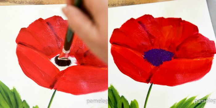 How to Paint a Large Red Poppy - Pamela Groppe Art