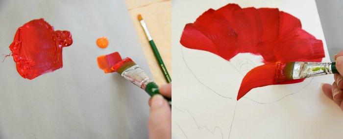 Paint a Large Red Poppy, adding orange