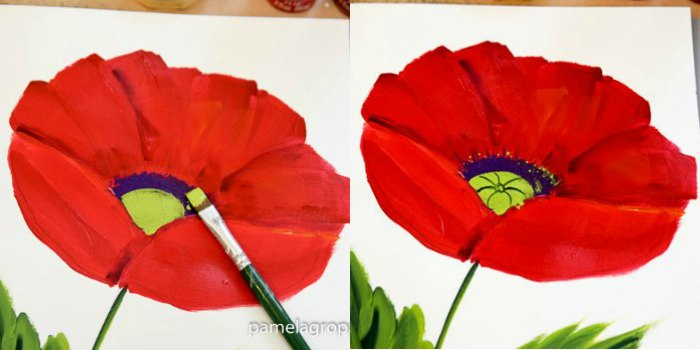 How to paint a large red poppy pamela groppe art paint in green centers for large red poppy mightylinksfo
