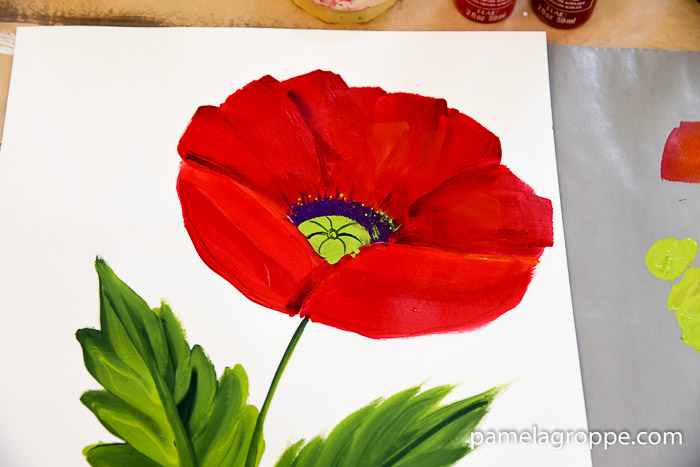 How to paint a large red poppy pamela groppe art how to paint a large red poppy mightylinksfo