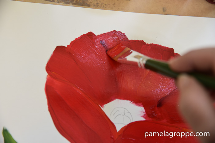 How to paint a large red poppy pamela groppe art add darker lines to show petal details how to paint a large red poppy mightylinksfo