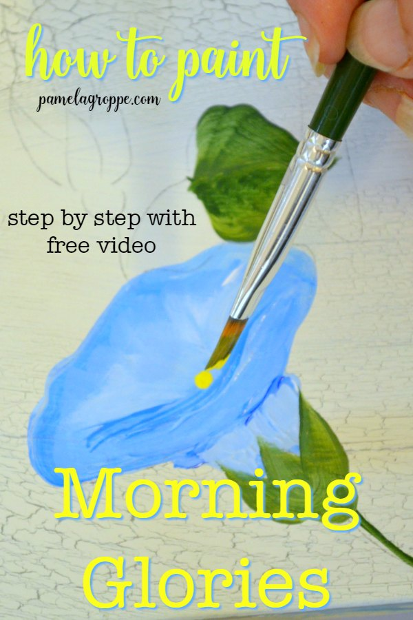 Morning glory being painted with text, How to Paint Morning Glories