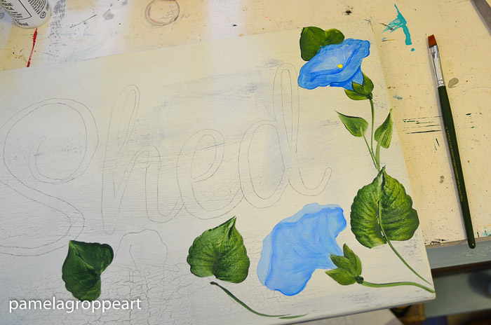 Morning Glory painting on white background