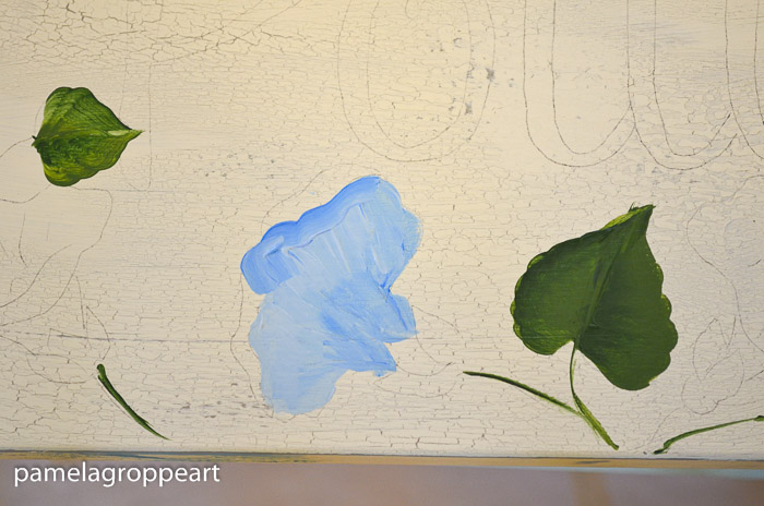 Light blue undercoat of morning glory painting, How to paint Morning Glories