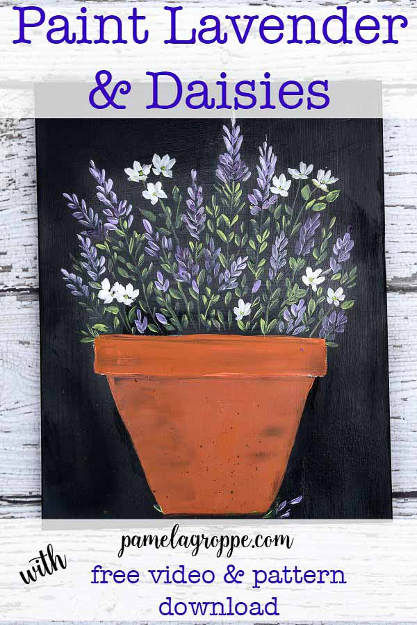Paint Lavender and Daisies, easy painting tutorial for beginning painters. A free video is available and access to a printable pattern. #paintparty #art #crafts #diydecor