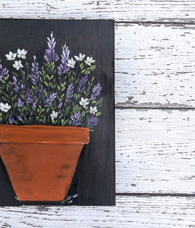 Paint Lavender and Daisies in a Terra Cotta Pot