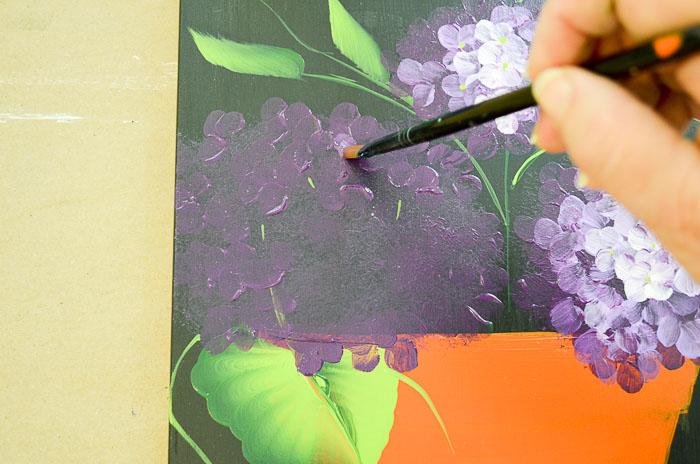 Purple hydrangeas beginning petals, Paint Hydrangeas in a Terra Cotta Pot
