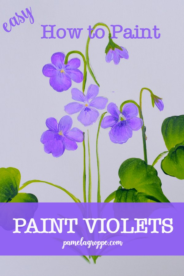 How to Paint Violets one stroke at a time, an easy painting tutorial for how to paint violets 3 ways. Create greeting cards, paint signs or use on canvas paintings. #violets #crafts #diydecor #canvaspainting