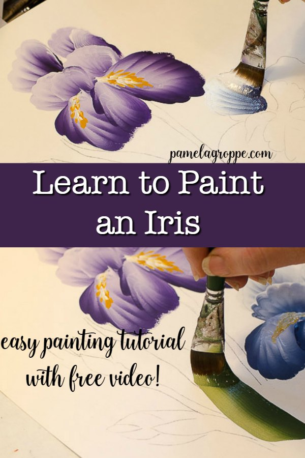 How to Paint an Iris one easy stroke at a time. Free painting tutorial with video! #art #paintflowers #acrylics #crafts #painttutorial