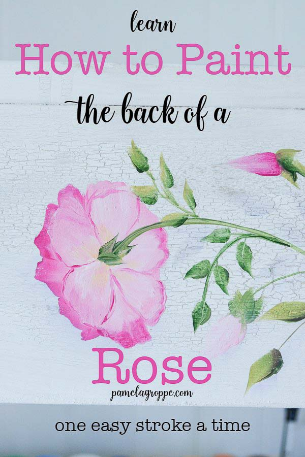 How to Paint the Back of a Rose, I show you step by step how to capture roses that face away from you in a bouquet or design. Learn How to Paint the Back of a Rose on stroke at a time. Easy enough for beginners and fun for everyone. #paintroses #howtopaint #acrylicpainting #decorativepainting
