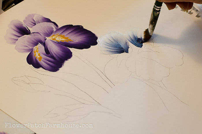 How to Paint an Iris one easy stroke at a time. Free painting tutorial with