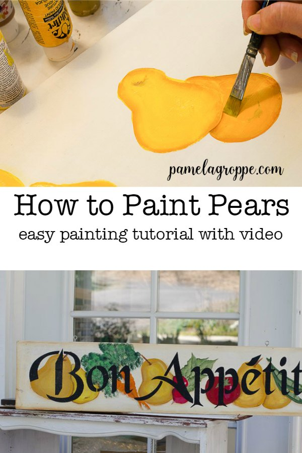 How to Paint a Pear in Acrylics, a step by step tutorial on with video. Pears are easy to paint and a great design to add to your artwork.. #easypaintinglesson #acrylics #howtopaint #paintpears