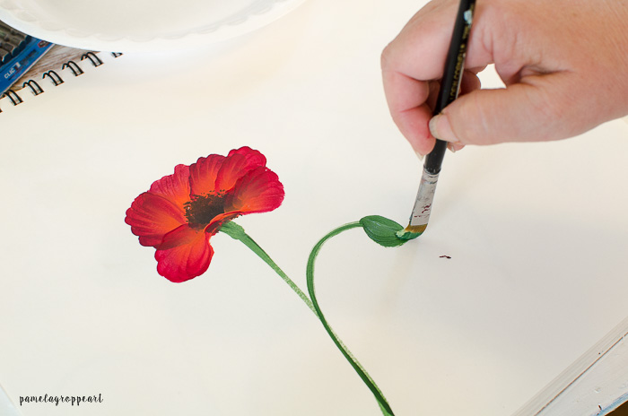 How to paint a poppy in acrylics pamela groppe art paint poppy bud mightylinksfo