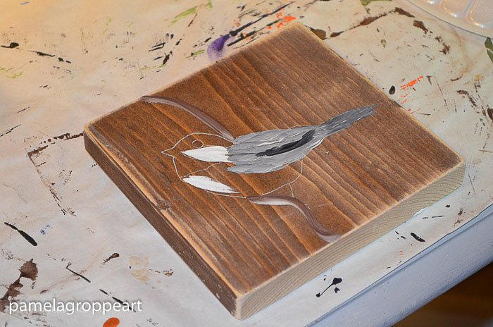 painting a chickadee in acrylics tutorial, pamelagroppe.com