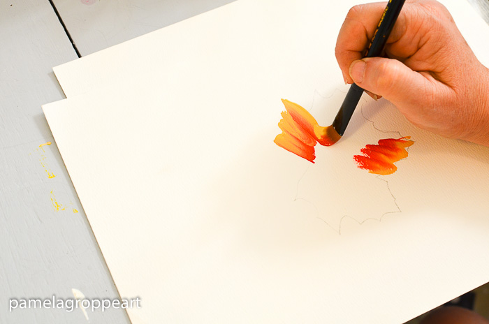 Beginning of stroke on How to Paint Fall Leaves