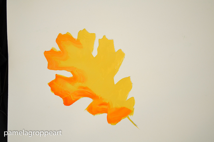 half of oak leaf shaded with orange, How to Paint Oak Leaves