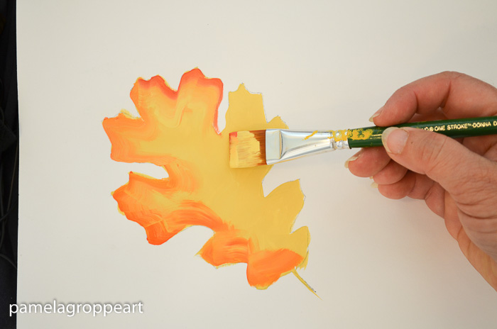 Shade right side of leaf with a darker orange, How to Paint Oak Leaves