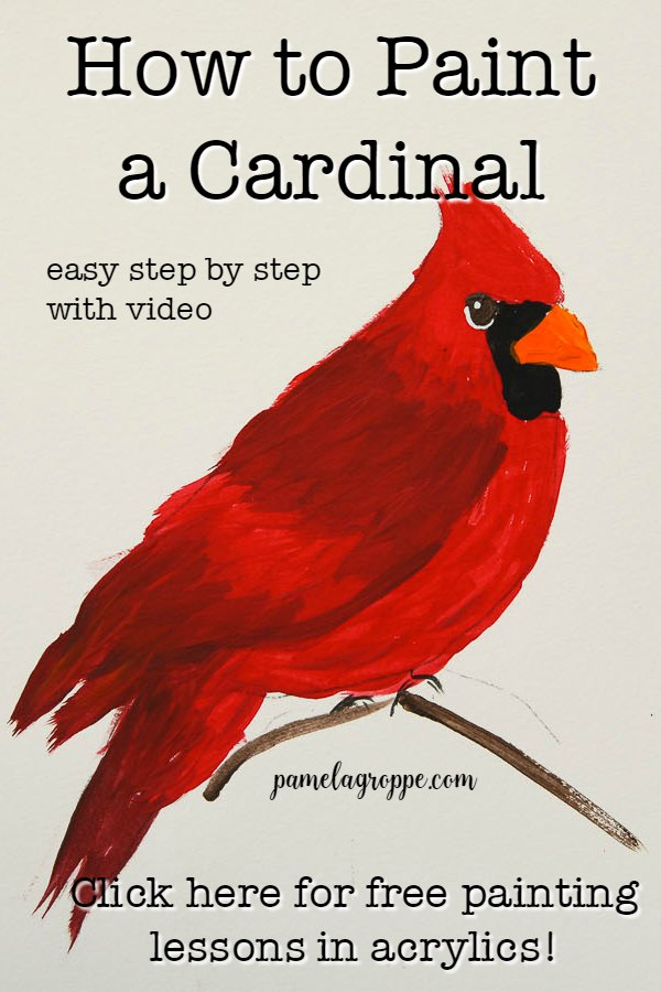 Cardinal painting in Acrylics with text, pamelagroppe.com