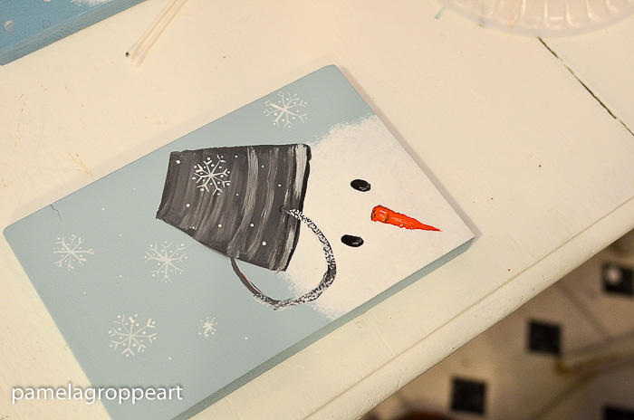 Snowflakes on snowman painting, Let's Paint a Snowman