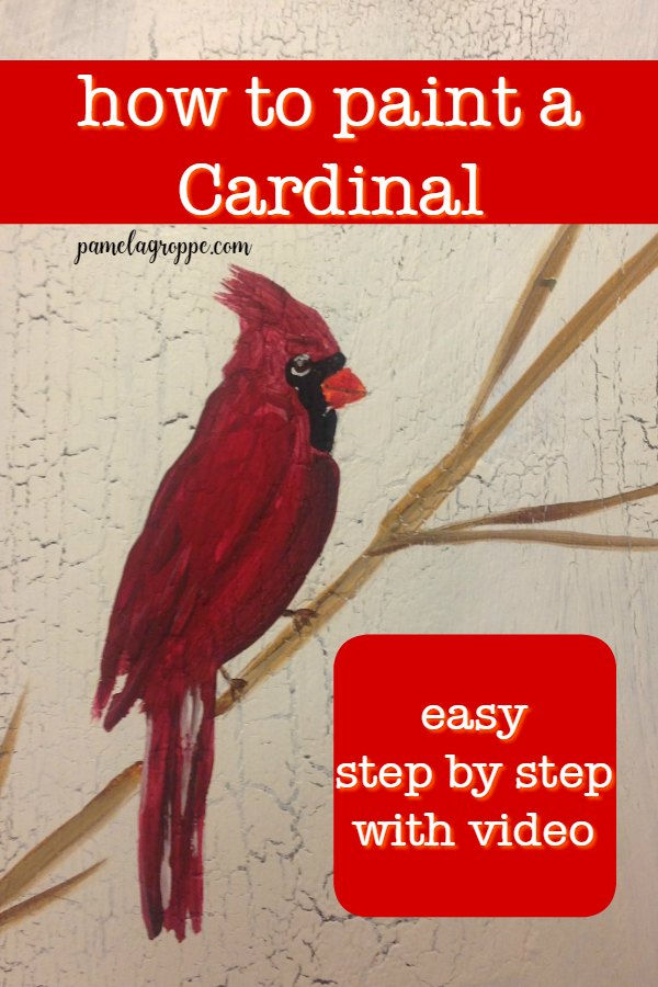 Cardinal painting with text, How to paint a Cardinal in acrylics