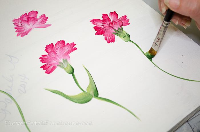 Painting the carnation stem, pamela groppe art
