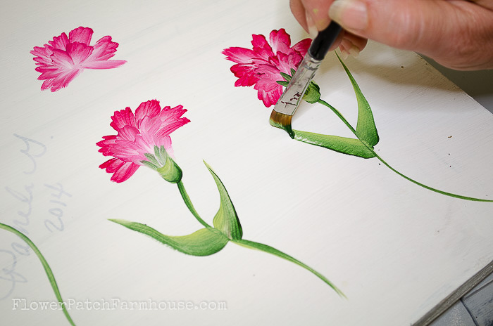 Painting carnation leaves, pamela groppe art