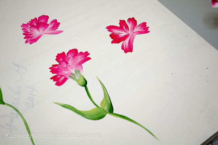 Layering petals painting carnation in acrylics, pamela groppe art