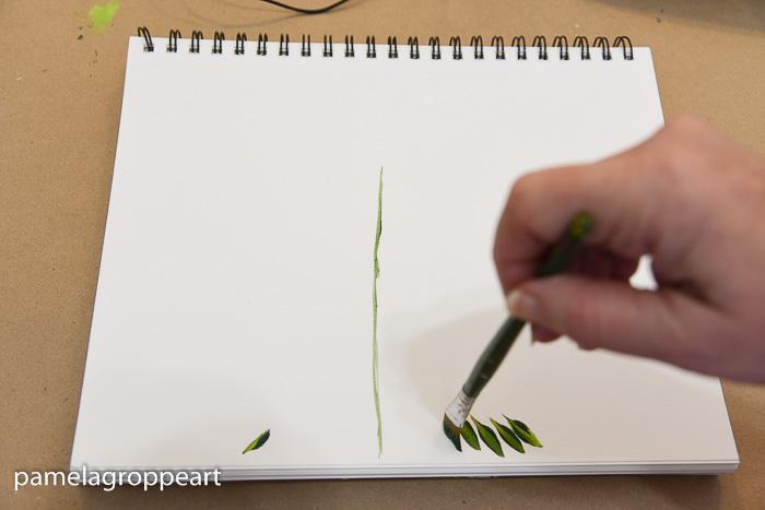 Paint bottom row of tree fronds, pamela groppe art