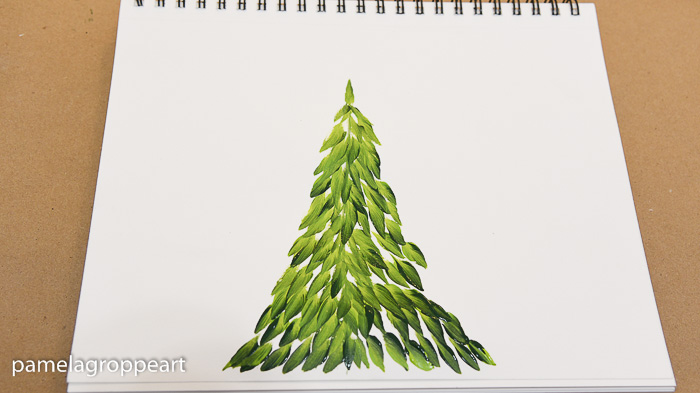 hand painted fir tree one easy stroke at a time, pamelagroppe.com