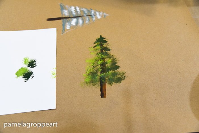 Evergreen tree hand painted, pamelagroppe.com