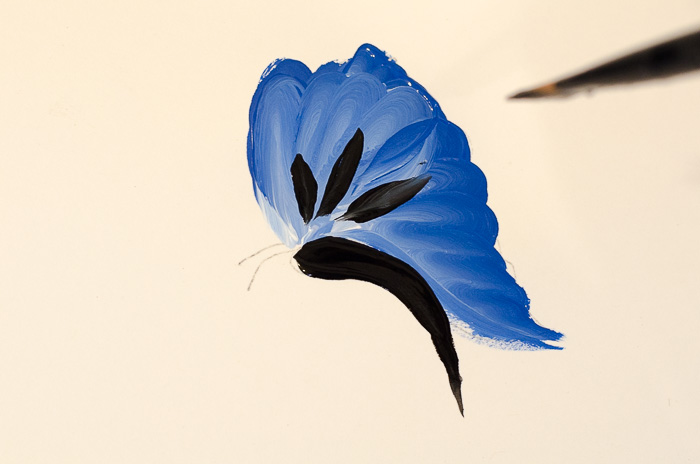 Painting blue butterfly in acrylics, pamelagroppe.com