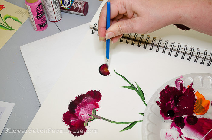 start to paint a carnation with round brush, pamelagroppe.com