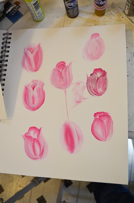 Practice sheet painting tulips, How to Paint Tulips pamela groppe art