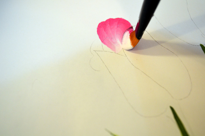 painting back petals of pink tulip, pamela groppe art, how to paint pink tulips fast and easy