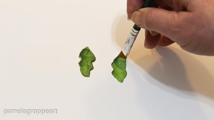 Painting a Christmas cactus leaf, pamelagroppe.com