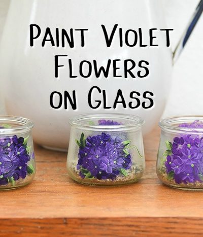 Glass Yoplait Oui yogurt jars painted with violet flowers, Paint Violet Flowers on Glass, pamela groppe art