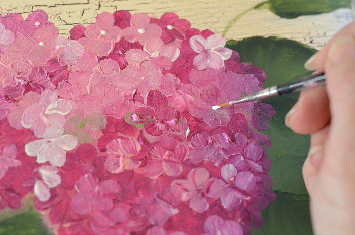 painting centers on pink hydrangeas one easy stroke at a time