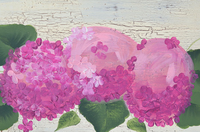 Painting on the lighter petals of the pink hydrangeas