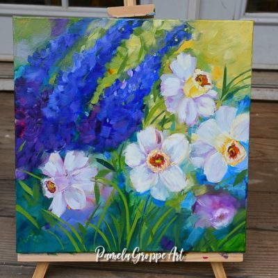Daffodil painting in oils, pamela groppe art