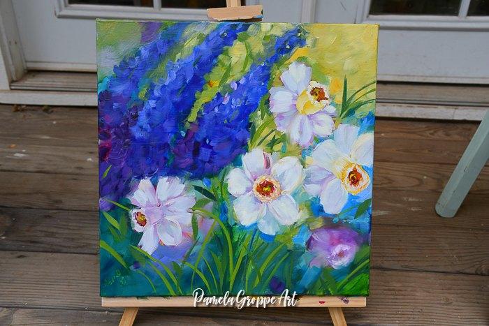 Daffodil painting in oils, pamela groppe art
