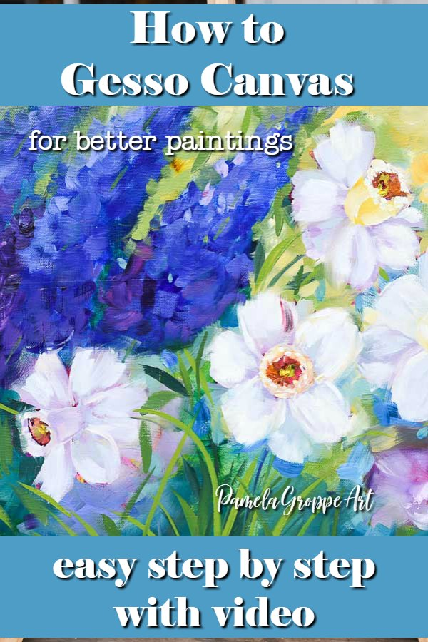 close up of daffodil painting with text overlay, how to gesso canvas for better paintings, easy step by step with video, pamela groppe art